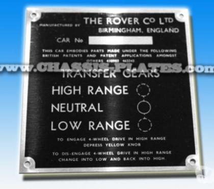 Photos for Land Rover series 2 replacement chassis / vin plate