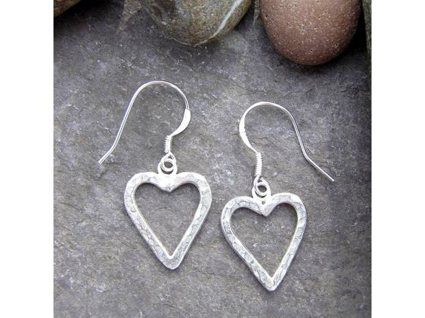 Photos #display# Vivastreet Handmade Silver Heart Earrings - Hand Hammered Hearts