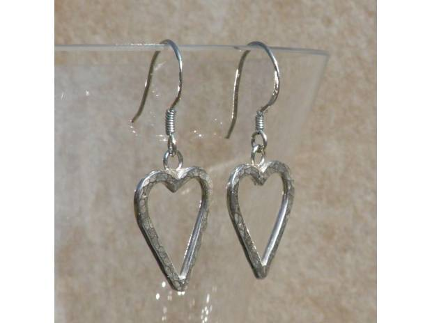 Photos for Handmade Silver Heart Earrings - Hand Hammered Hearts