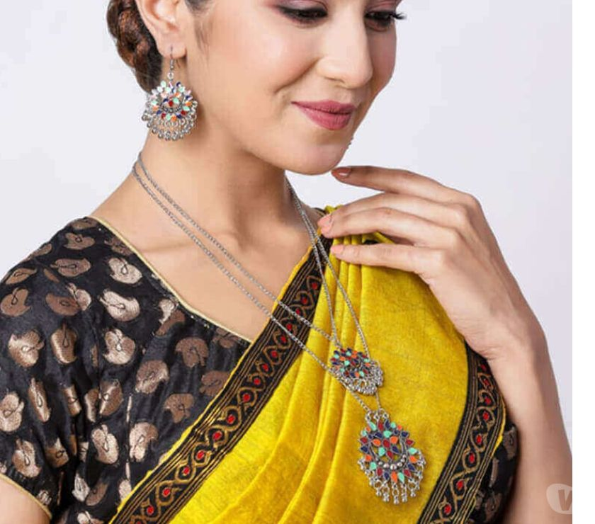 Fashion accessories Kochi - Photos for Buy Ethnic Afghani Boho Style Multilayer Necklace Set with E