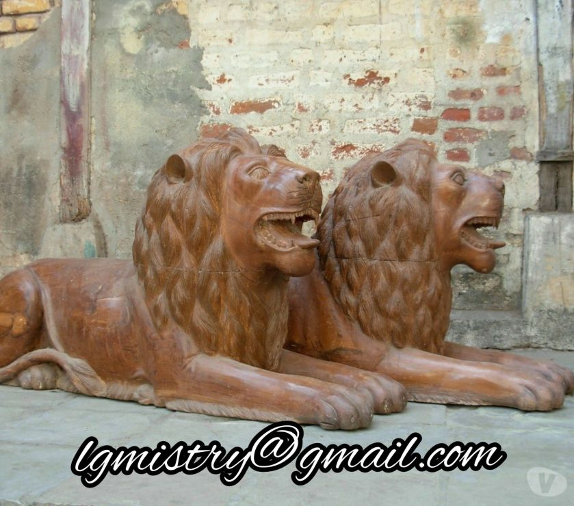Retail space for rent Ahmedabad - Photos for Wooden carved Lion