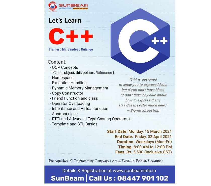IT & Computer course Pune - Photos for C++ online course near me | Learn c++ Online | Sunbeam
