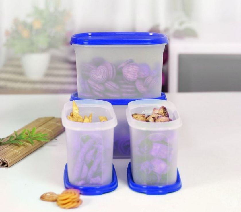 Buy & Sell home appliances Mumbai - Photos for Tupperware Oval Dry Storage Containers 1.1L 4pc Blue