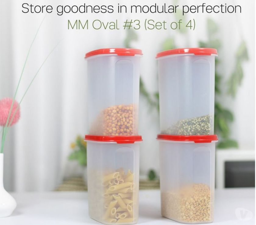 Buy & Sell home appliances Mumbai - Photos for Tupperware Oval Dry Storage Containers 1.7L 4pc Red