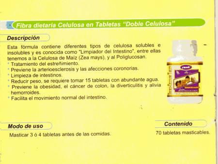Fotos de FIBRA DOBLE CELULOSA EN TABLETAS - ( LIMPIADOR INTESTINAL)